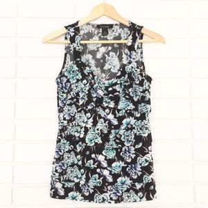 White House Black Market Blue & Aqua Floral Tank
